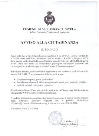 AVVISO DEMOCRAZIA PARTECIPATA ANNO 2018
